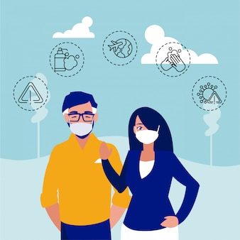 Man and woman with icons of coronavirus protection and symptoms