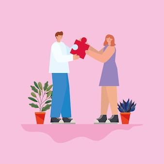 Man and woman with red puzzle piece and plants on a pink background  illustration