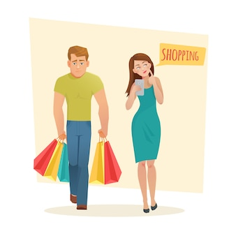 Man and woman with shopping bags.