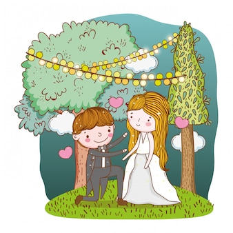Man and woman with trees and party flags