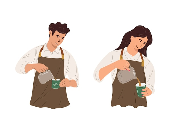 Man and woman workers working as coffee shop baristas, baristas pouring and processing coffee preparations.