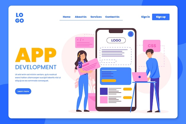 Man and woman working on app development landing page
