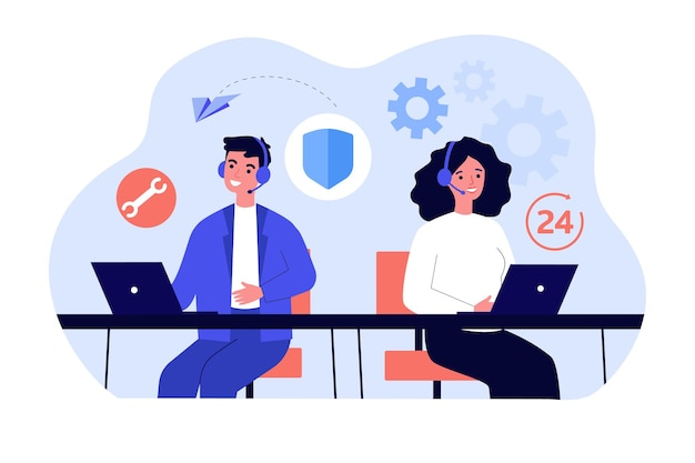 Man and woman working in call center within 24 hours. flat vector illustration. young people with headsets answering calls in support or service center.  communication, support, help concept
