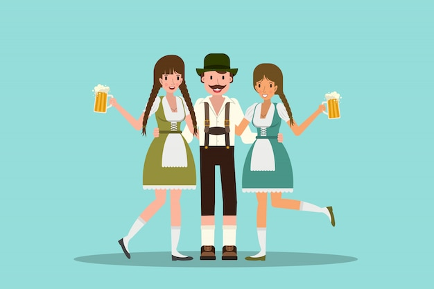 Man and women hugging and celebrating oktoberfest with a big glass of beer. illustration in flat design.