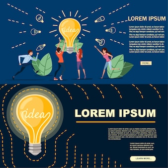 Man and women and incandescent lamp yellow retro light bulb with idea concept vector illustration on dark background cartoon character design horizontal banner.