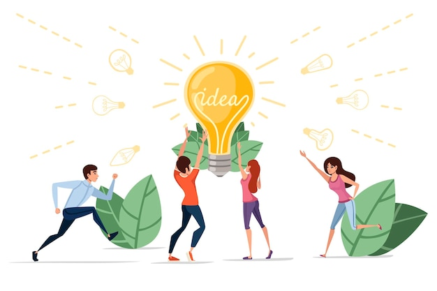 Man and women and incandescent lamp yellow retro light bulb with idea concept vector illustration