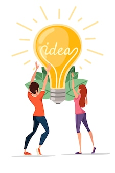 Man and women and incandescent lamp yellow retro light bulb with idea vector illustration