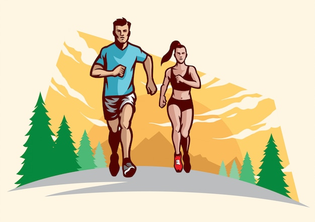 Man and women running
