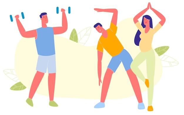 Man and women sport training outdoors, gymnastics