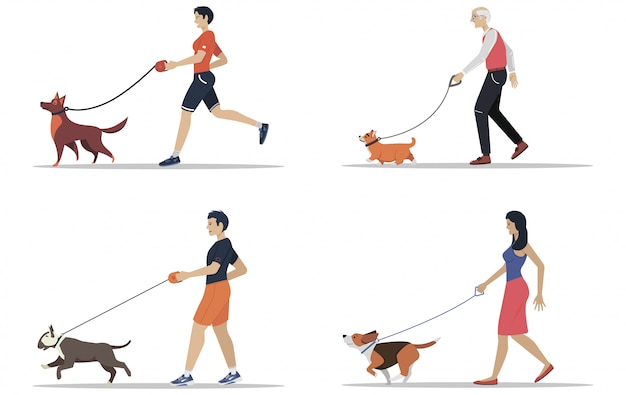 Man and women walking the dogs of different breeds. active people, leisure time. set of flat illustrations.