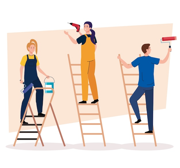 Man and women with construction drill paint roll and bucket on ladders design of remodeling working and repairing theme