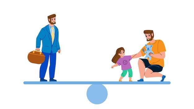 남자 직장 경력 및 가족 생활의 균형 벡터입니다. 딸의 삶을 결정하는 사업가 직업과 아버지. 양복과 남자 아이 플랫 만화 일러스트와 함께 노는 캐릭터 직원