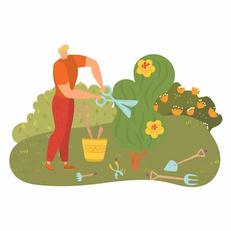 Man work near tree, people engaged gardening,  young gardener, cut greenery, , cartoon   illustration. happy worker tools, pruning scissors street, bush, vigorous activity.