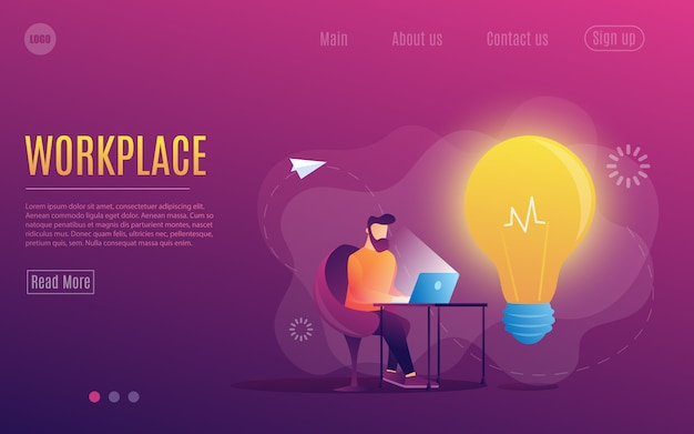 A man at work. working at a laptop. flat colorful style.workplace. web page template.