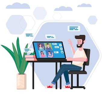 男は家から働いたビデオ会議の人々がコンピューター画面のラップトップでビデオ通話、チャットでインターネットで話している