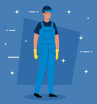 Man worker of cleaning service, on blue illustration design