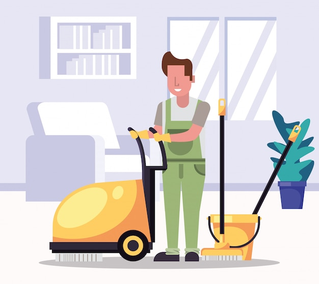 Man worker housekepping with equipment