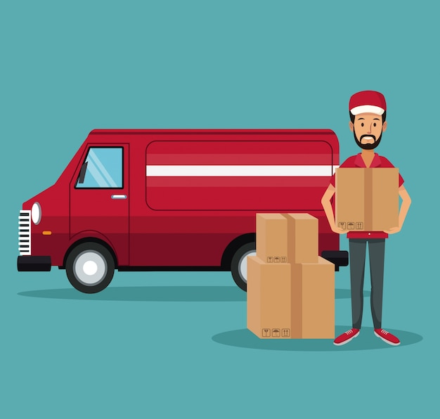 Man worker with packages and truck fast delivery