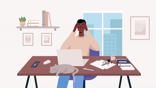 ノートパソコンを自分の机で働いていた男性。ホームオフィス。多くの仕事、過労、ストレス、締め切り、感情的なバーンアウト。フリーランスまたは勉強のコンセプト。リモートワーカー。フラットな漫画のスタイルのかわいいイラスト。