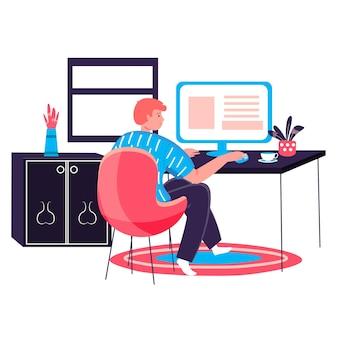Человек, работающий в концепции домашнего офиса. фрилансер работает за компьютером, сидя за столом. внештатное рабочее место, удаленная работа над сценой персонажа проекта. векторная иллюстрация в плоском дизайне с деятельностью людей