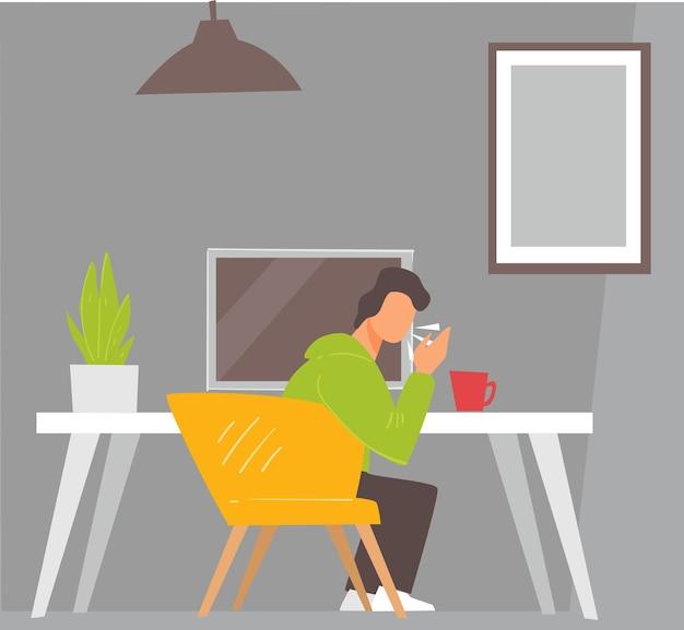 집이나 사무실에서 일하는 남자가 기침과 재채기를 합니다. 질병이나 질병, 코로나바이러스의 증상을 퍼뜨리는 직장의 아픈 사람. 방에 있는 남성 캐릭터 프리랜서. 평면 스타일의 벡터