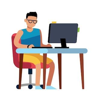 집에서 일하는 남자. 컴퓨터, 고립 된 벡터 프리랜서 라이프 스타일 개념에 앉아 반바지에 사람