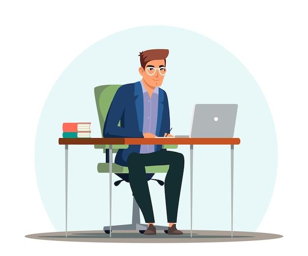 사무실, 직원 관리자 또는 책상에 앉아 사업가에서 일하고, 노트북을보고, 메모를 쓰고, 작업을하는 남자.