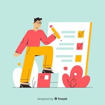 Man working on checklist background