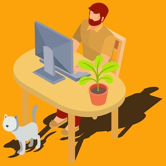 Man working on computer at home isometric vector