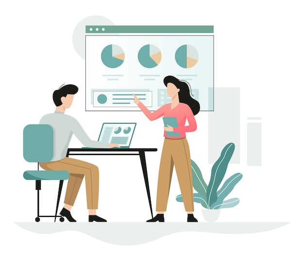 Man working at the desk, woman shows graphics, office character at the workplace. professional worker.  illustration in cartoon style