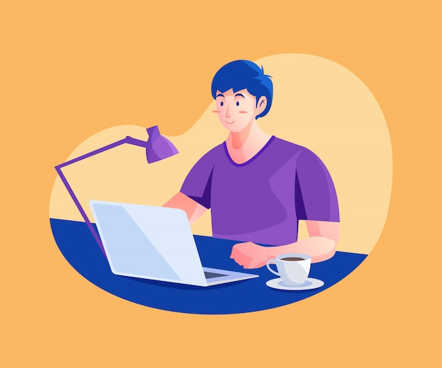 Man working from home concept