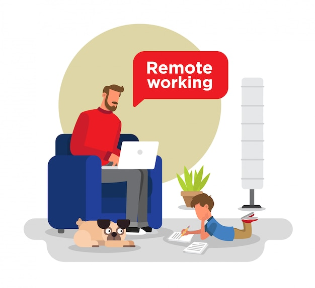 Man working from home sitting on his couch, child doing homework, a pug dog, plant and a lamp.