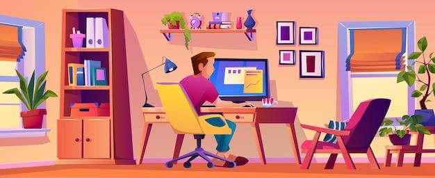 Человек, работающий из домашнего офиса на рабочем месте интерьер офиса