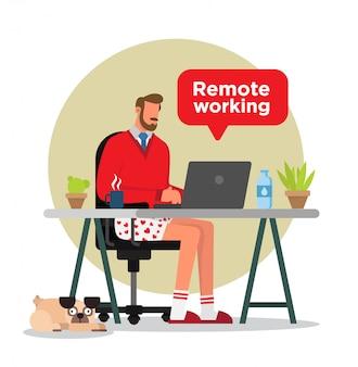 집에서 일하는 사람.