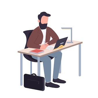 Man working at home flat color faceless character. school teacher sitting at desk isolated cartoon illustration for web graphic design and animation. remote education, online classes, webinar