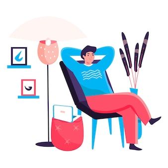 Man working at home office concept. freelancer resting leaned back in chair. freelance workplace, remote work on project character scene. vector illustration in flat design with people activities
