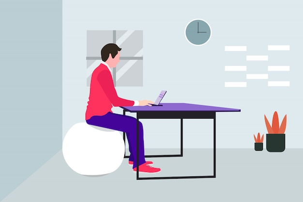 Man working at home with laptop  illustration,premium