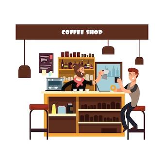Человек, работающий в кафе иллюстрации
