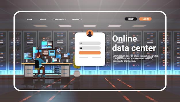 Человек, работающий в онлайн-центре обработки данных, шаблон целевой страницы веб-сайта, хостинг-сервер, мониторинг компьютера