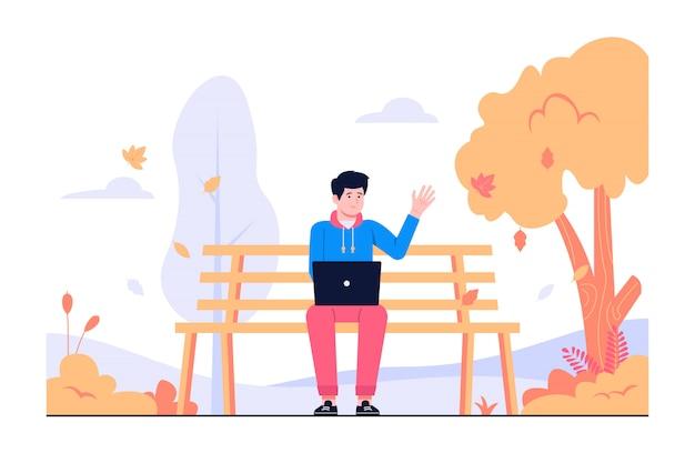 秋の概念図で働く男