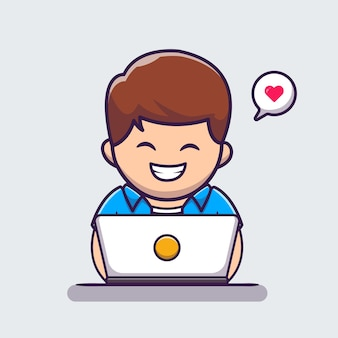 Man working on laptop cartoon icon illustration