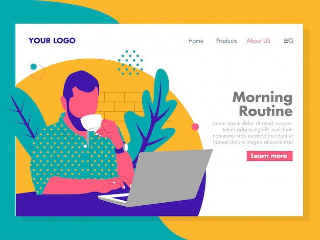 Man working on a laptop illustration for landing page