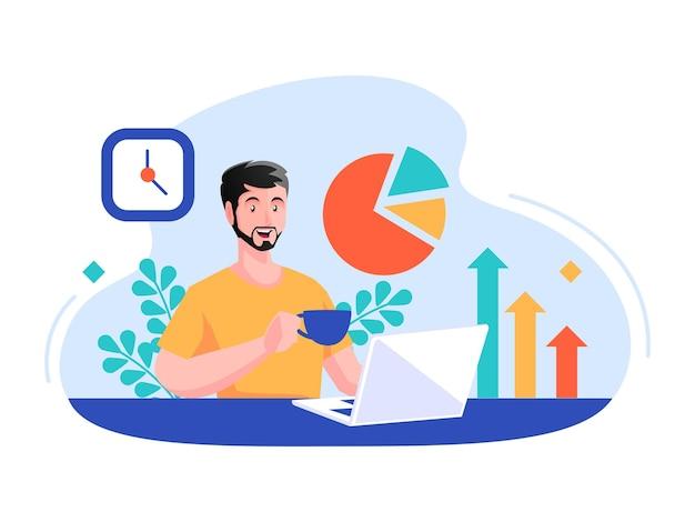 Man working making data report