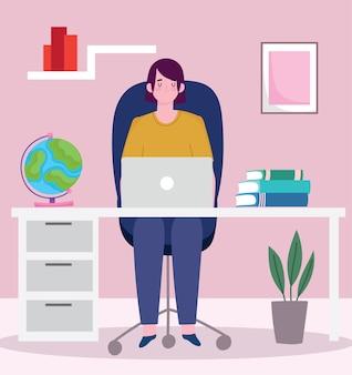 彼のオフィスの机でラップトップコンピューターで働いている人、イラストを働いている人々