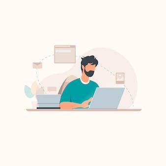 Человек, работающий на иллюстрации концепции ноутбука