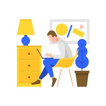 コンピューターの図で作業する人