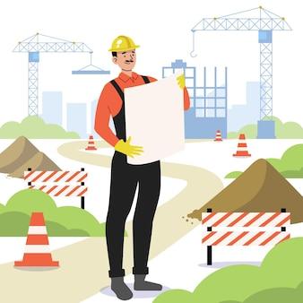 건축 평면 디자인에서 작업하는 남자