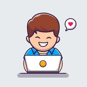 ノートパソコンの漫画のアイコンイラストに取り組んでいる男