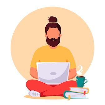 Человек, работающий на ноутбуке. внештатный, удаленная работа, концепция онлайн-обучения.