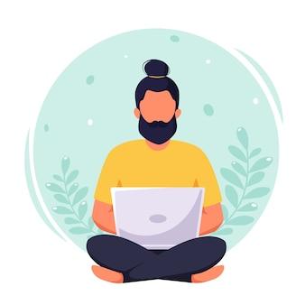 노트북에서 일하는 남자, 프리랜서, 원격 작업, 온라인 공부, 재택 근무